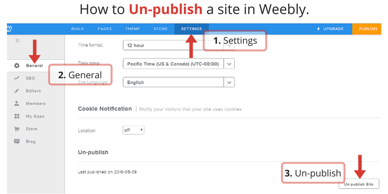 unpublish your weebly website in a few clicks