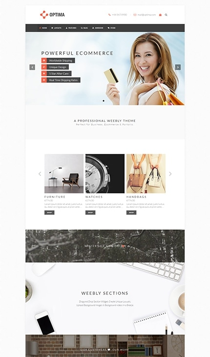 Optima ecommerce weebly template
