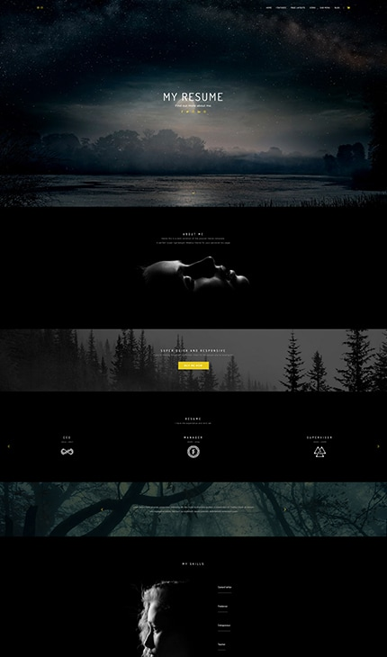 Bio - a dark and moody Weebly Template for Personal Biography sites.