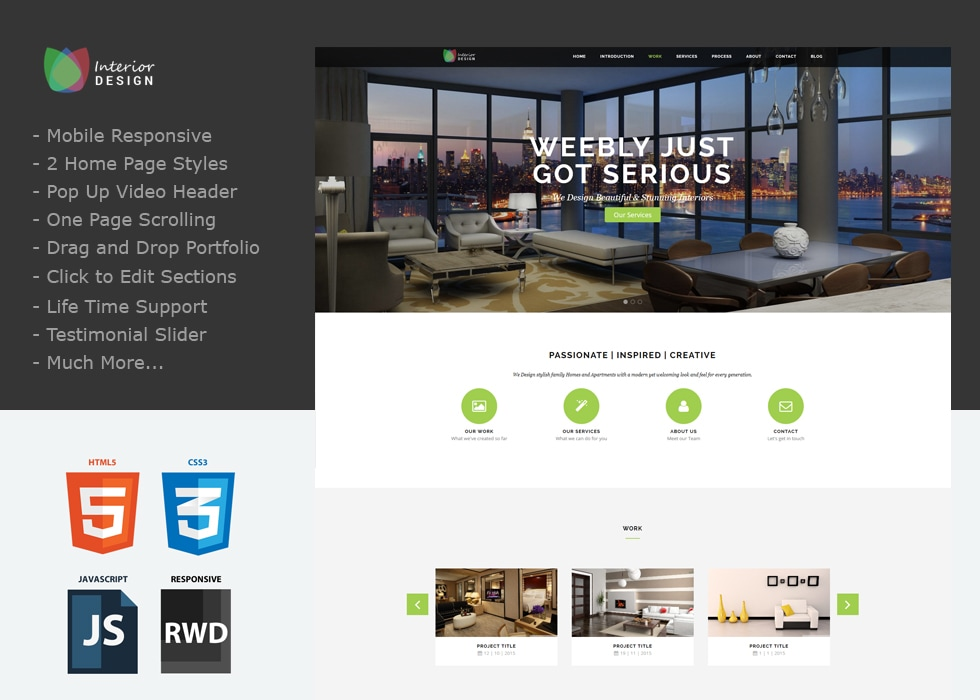 single page weebly theme Dezine updated with new features